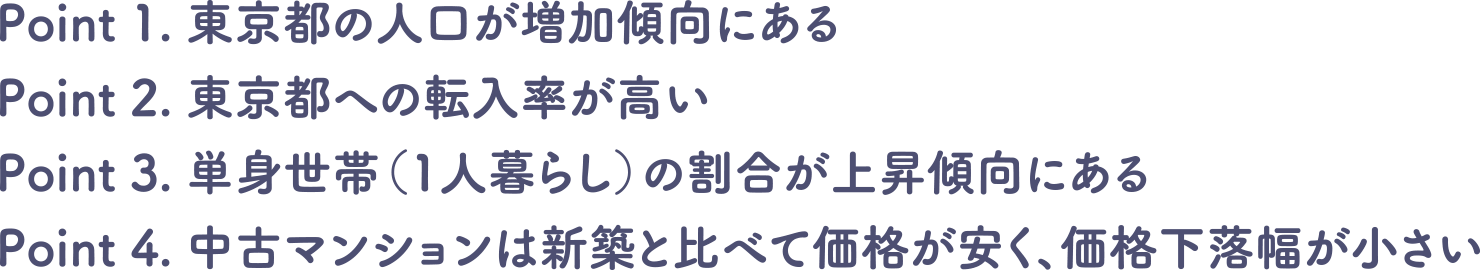 1.東京都の人口が増加傾向にある 2.東京都への転入率が高い 3.単身世帯(一人暮らし)の割合が上昇傾向にある 4.中古マンションは新築と比べて価格が安く、価格下落幅が小さい